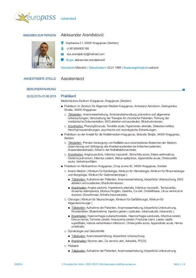 Cv Europass Aleksandar Aranđelović