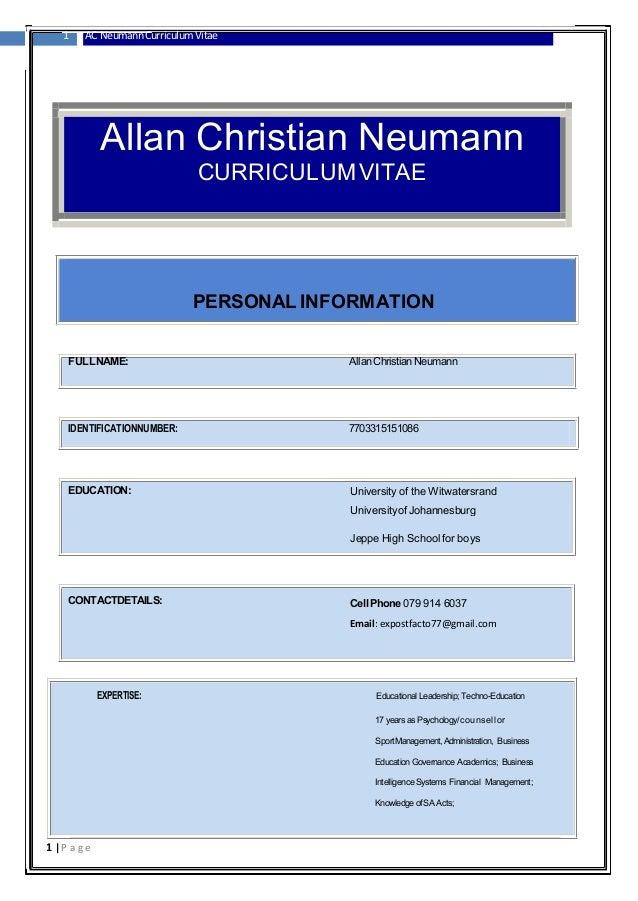 the curriculum vitae allan christian neumann 1916 1917 pdf