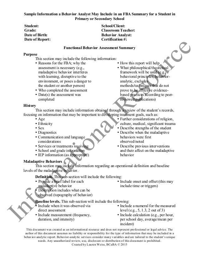 FBA Summary Resource