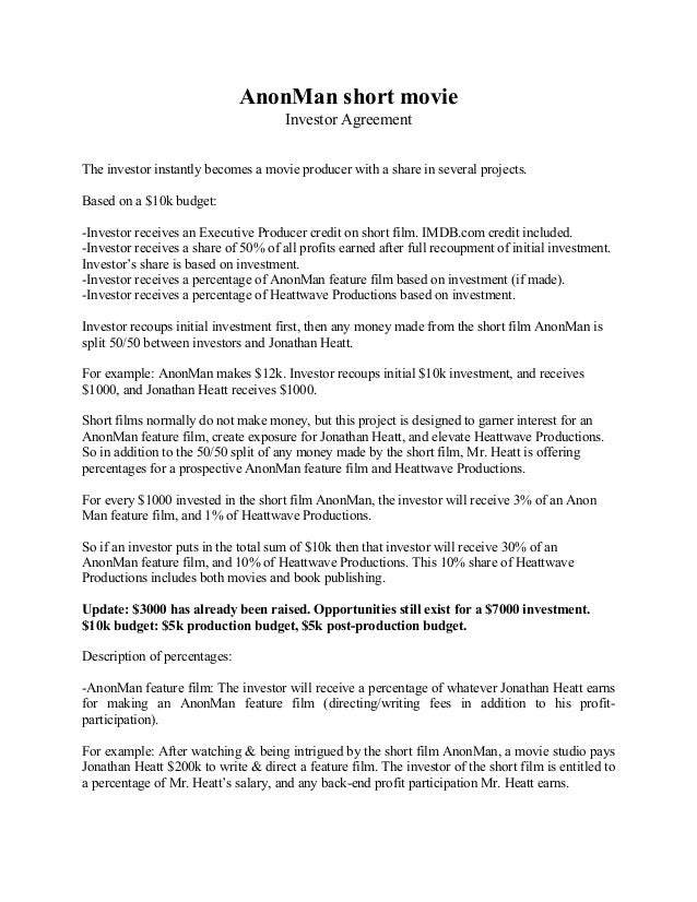 Anonman Investor Agreement