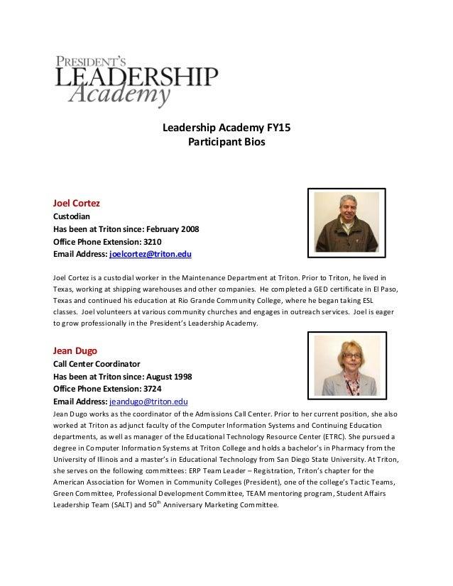 President Leadership Academy Fy2015 Biographies