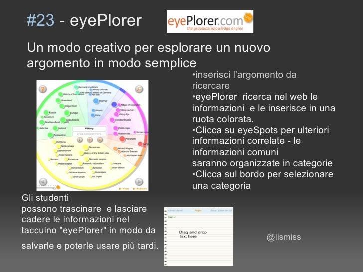 #23 - eyePlorer  Un modo creativo per esplorare un nuovo  argomento in modo semplice                                      ...
