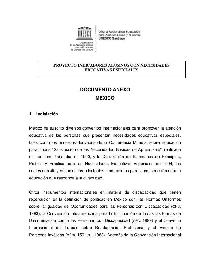 PROYECTO INDICADORES ALUMNOS CON NECESIDADES                        EDUCATIVAS ESPECIALES                           DOCUME...