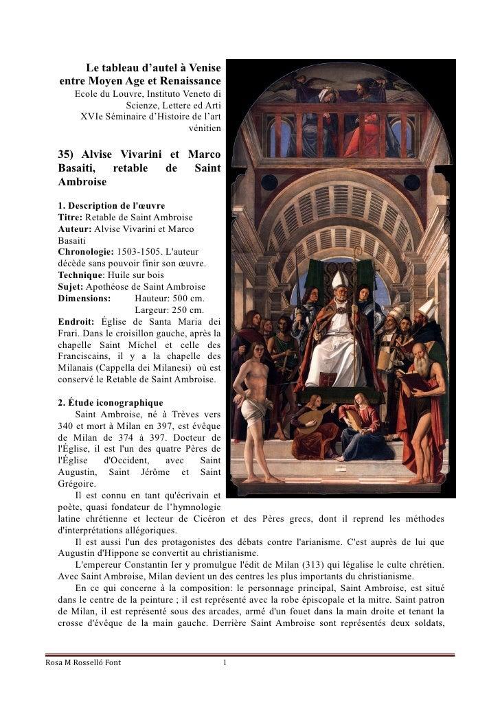 Le tableau d'autel à Venise   entre Moyen Age et Renaissance       Ecole du Louvre, Instituto Veneto di                  S...