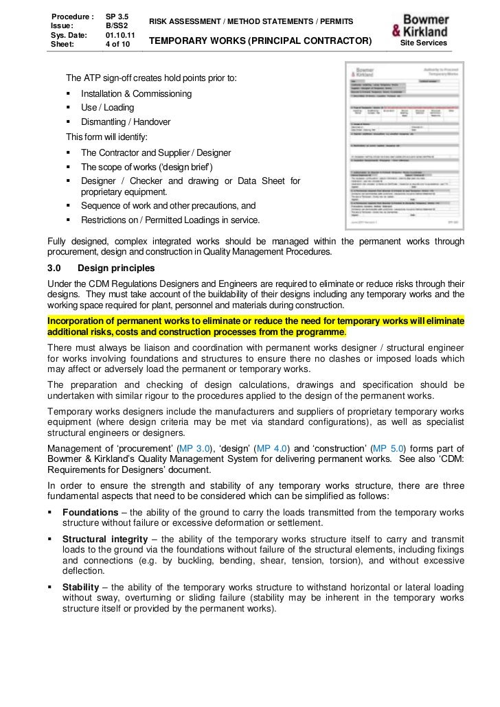 3 5 Temporary Works – Method Statement Template Doc