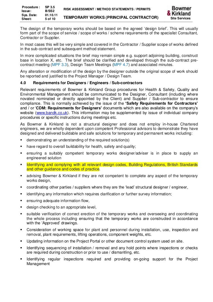 3 5 Temporary Works – Health and Safety Method Statement Template