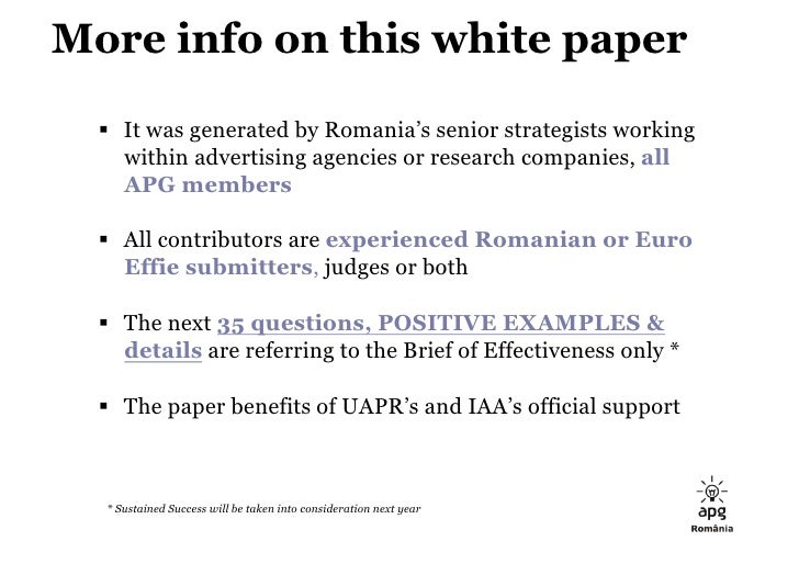 APG Romania: 35 Tricky Questions for Effie Case Studies 2009