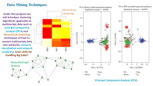 Data Mining Techniques Principal Component Analysis (PCA) Hierarchical Clustering Network/Graph Analysis Under this progra...
