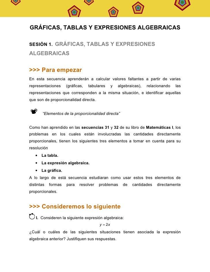 SECUENCIA   36                                                                    MATEMÁTICAS   I     GRÁFICAS, TABLAS Y E...