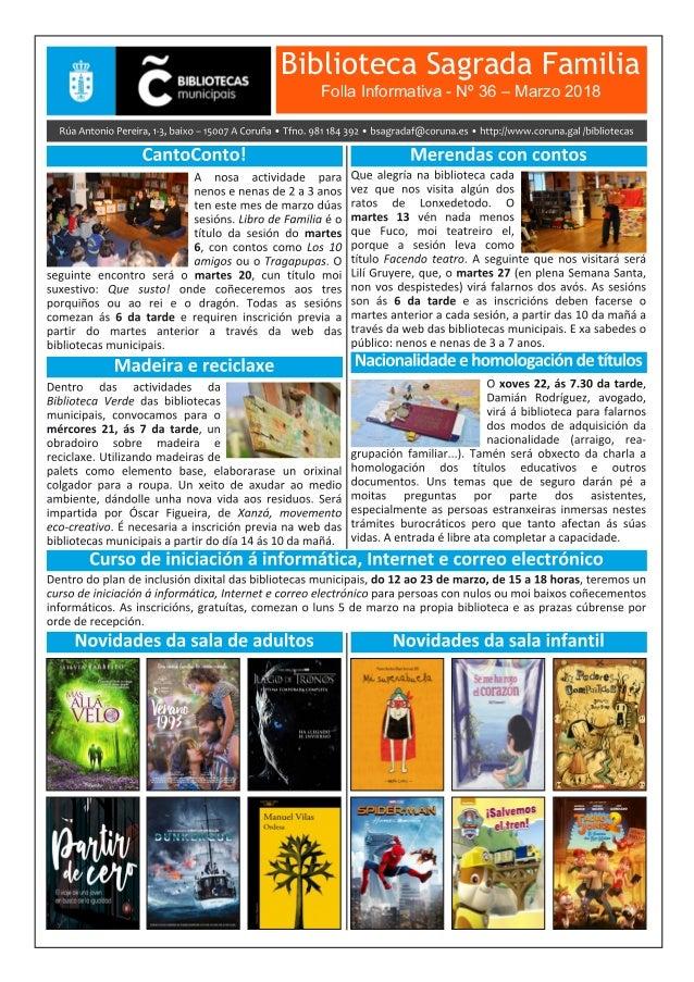 Biblioteca Sagrada Familia Folla Informativa - Nº 36 – Marzo 2018