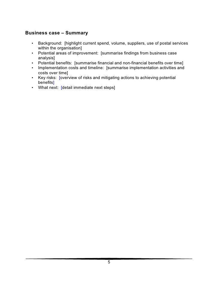 36 Business Case Template – Case Summary Template