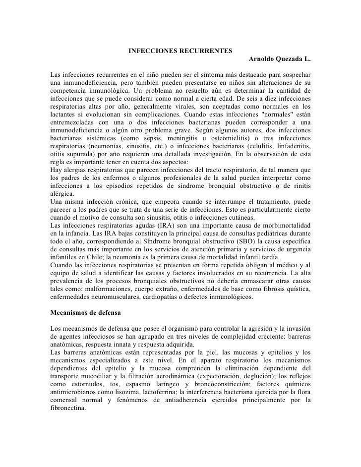INFECCIONES RECURRENTES                                                                        Arnoldo Quezada L.  Las inf...