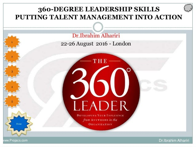 360 degree leader essays Maxwell, one of the globe's most trusted leadership mentors, debunks the myths, shows you how to overcome the challenges, and teaches you the skills you need to become a 360° leader if you have found yourself trying to lead from the middle of the organization, as the vast majority of professionals do, then you need maxwell's insights.