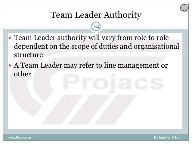 102 Team Leader Authority  Team Leader authority will vary from role to role dependent on the scope of duties and organis...