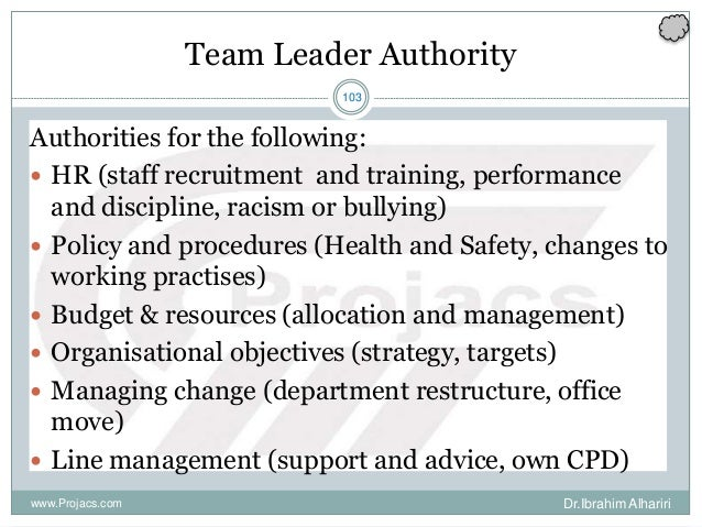 103 Team Leader Authority Authorities for the following:  HR (staff recruitment and training, performance and discipline,...