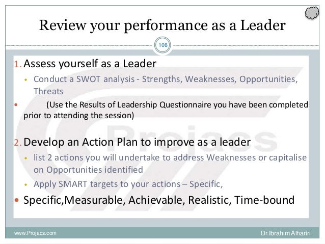 106 Review your performance as a Leader 1. Assess yourself as a Leader • Conduct a SWOT analysis - Strengths, Weaknesses, ...