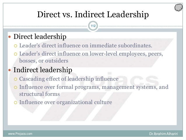 112 Direct vs. Indirect Leadership  Direct leadership  Leader's direct influence on immediate subordinates.  Leader's d...