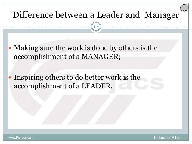 114 Difference between a Leader and Manager  Making sure the work is done by others is the accomplishment of a MANAGER; ...