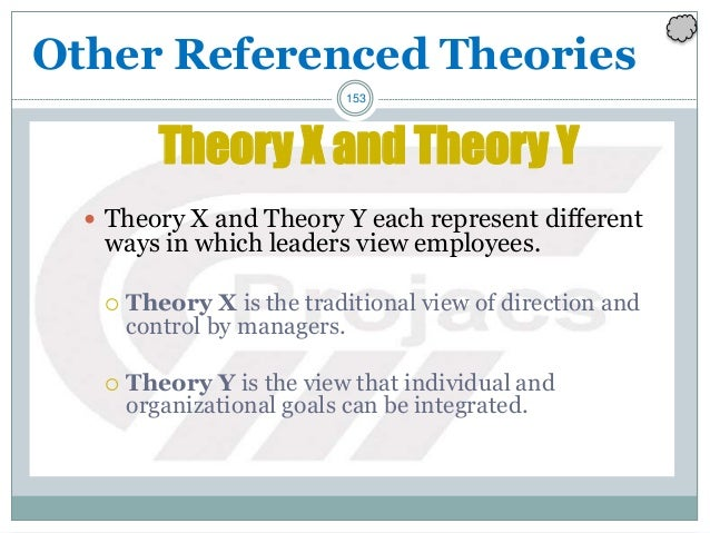153 Theory X and Theory Y  Theory X and Theory Y each represent different ways in which leaders view employees.  Theory ...