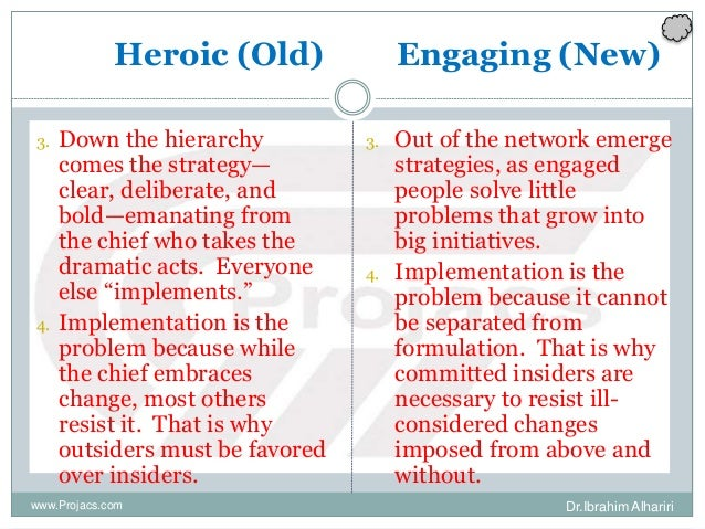 Heroic (Old) Engaging (New) 3. Down the hierarchy comes the strategy— clear, deliberate, and bold—emanating from the chief...