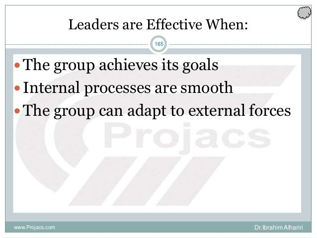165 Leaders are Effective When: The group achieves its goals Internal processes are smooth The group can adapt to exter...