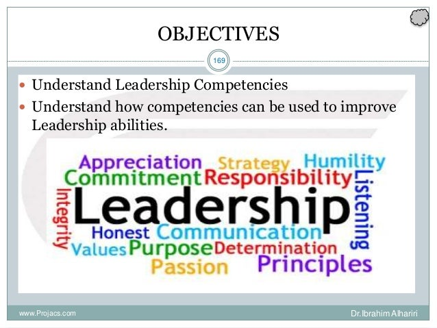 169 OBJECTIVES  Understand Leadership Competencies  Understand how competencies can be used to improve Leadership abilit...