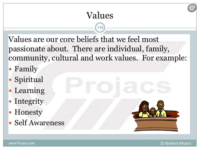 173 Values Values are our core beliefs that we feel most passionate about. There are individual, family, community, cultur...