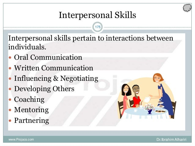 175 Interpersonal Skills Interpersonal skills pertain to interactions between individuals.  Oral Communication  Written ...