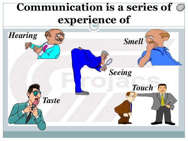 183 Communication is a series of experience of Hearing Smell Seeing Taste Touch