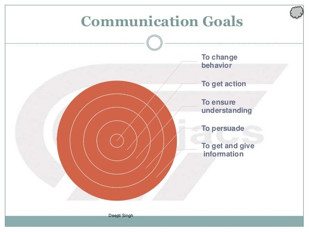 Deepti Singh Communication Goals To change behavior To get action To ensure understanding To persuade To get and give info...