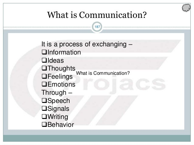 187 It is a process of exchanging – Information Ideas Thoughts Feelings Emotions Through – Speech Signals Writing ...