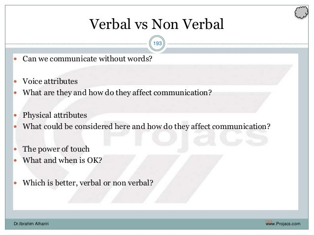 193 Verbal vs Non Verbal  Can we communicate without words?  Voice attributes  What are they and how do they affect com...