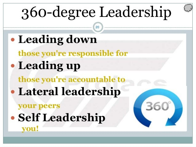 20  Leading down those you're responsible for  Leading up those you're accountable to  Lateral leadership your peers  ...
