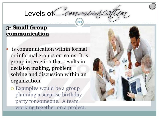 200 3- Small Group communication  is communication within formal or informal groups or teams. It is group interaction tha...