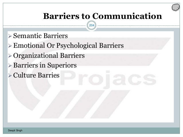 204 Deepti Singh Barriers to Communication Semantic Barriers Emotional Or Psychological Barriers Organizational Barrier...