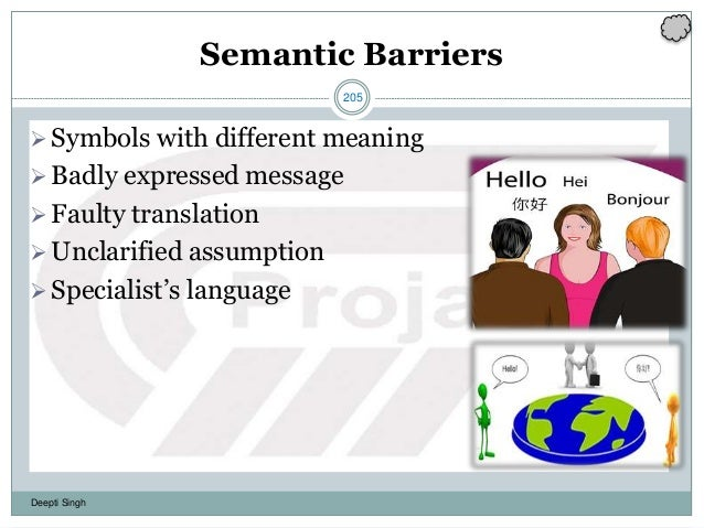 205 Deepti Singh Semantic Barriers Symbols with different meaning Badly expressed message Faulty translation Unclarifi...