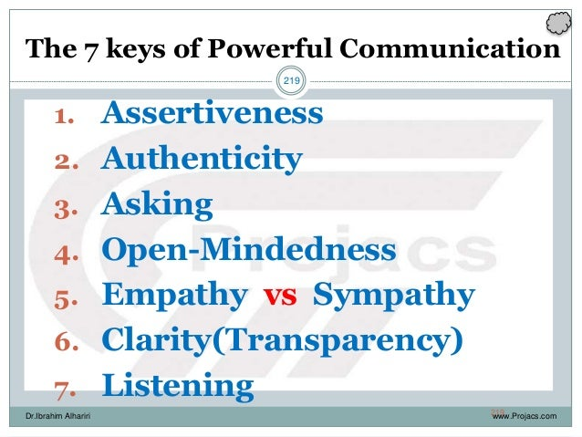 219 The 7 keys of Powerful Communication 1. Assertiveness 2. Authenticity 3. Asking 4. Open-Mindedness 5. Empathy vs Sympa...