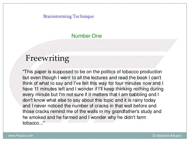 """Brainstorming Technique Number One Freewriting """"This paper is supposed to be on the politics of tobacco production but eve..."""