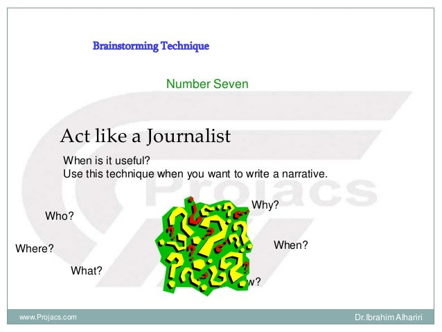 Brainstorming Technique Number Seven Act like a Journalist When is it useful? Use this technique when you want to write a ...