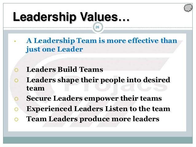 26 • A Leadership Team is more effective than just one Leader  Leaders Build Teams  Leaders shape their people into desi...