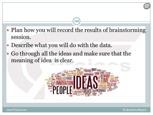 268  Plan how you will record the results of brainstorming session.  Describe what you will do with the data.  Go throu...