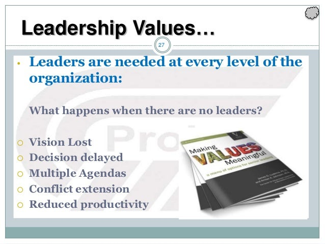 27 • Leaders are needed at every level of the organization: What happens when there are no leaders?  Vision Lost  Decisi...