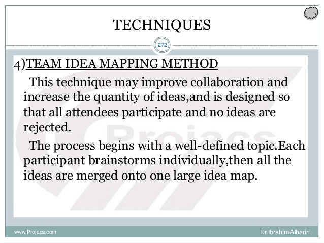 272 TECHNIQUES 4)TEAM IDEA MAPPING METHOD This technique may improve collaboration and increase the quantity of ideas,and ...