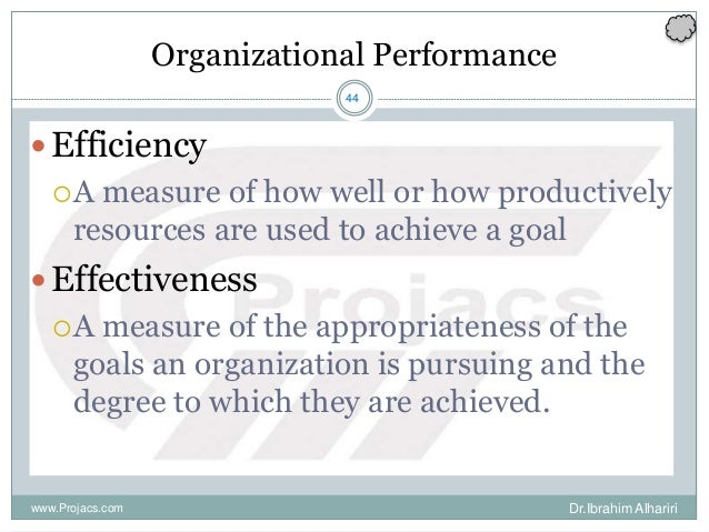 44 Organizational Performance Efficiency A measure of how well or how productively resources are used to achieve a goal ...