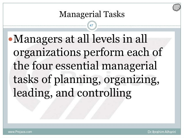 47 Managerial Tasks Managers at all levels in all organizations perform each of the four essential managerial tasks of pl...