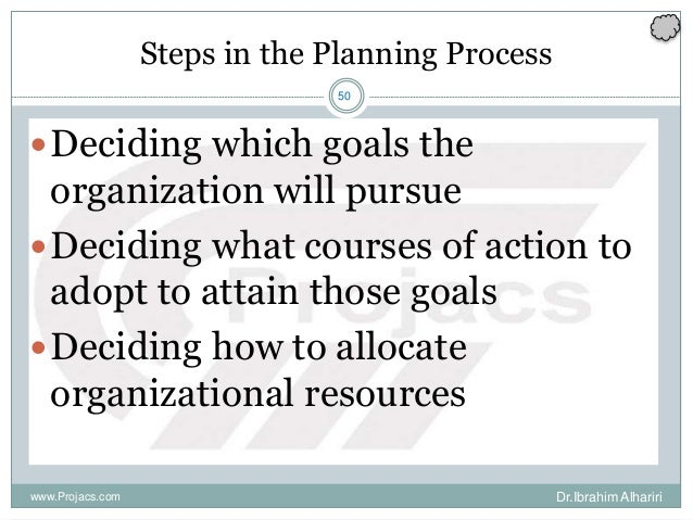 50 Steps in the Planning Process Deciding which goals the organization will pursue Deciding what courses of action to ad...