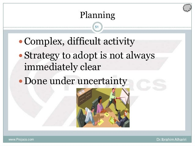 51 Planning Complex, difficult activity Strategy to adopt is not always immediately clear Done under uncertainty www.Pr...