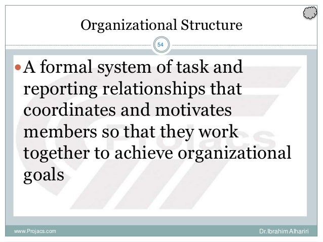 54 Organizational Structure A formal system of task and reporting relationships that coordinates and motivates members so...