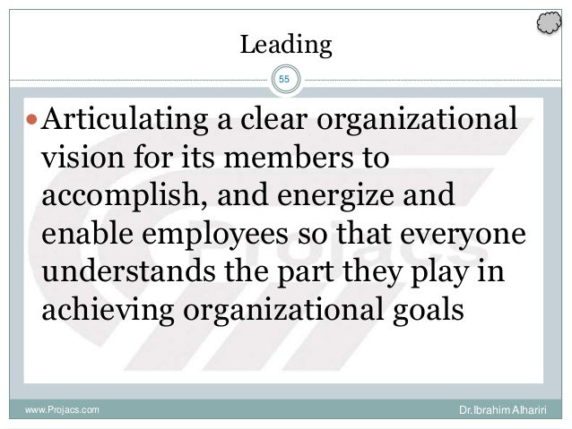 55 Leading Articulating a clear organizational vision for its members to accomplish, and energize and enable employees so...
