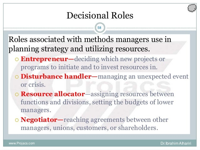 58 Decisional Roles Roles associated with methods managers use in planning strategy and utilizing resources.  Entrepreneu...